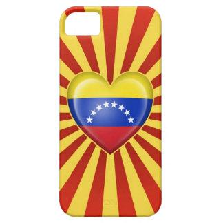 Bandera venezolana del corazón con la explosión de iPhone 5 Case-Mate protector