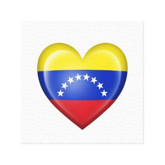 Bandera venezolana del corazón en blanco impresion de lienzo