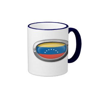 Bandera venezolana en el marco de acero taza de café