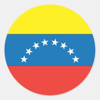 Bandera venezolana pegatina redonda