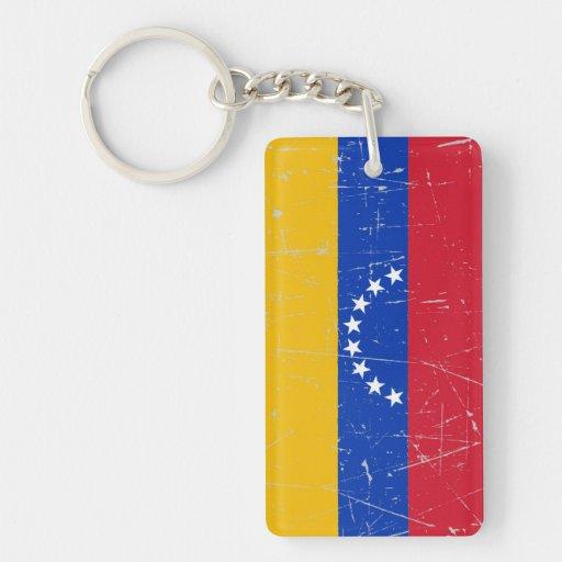 Bandera venezolana rascada y rasguñada llavero