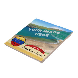 Bandera venezolana sonriente de la ronda brillante azulejo cuadrado pequeño