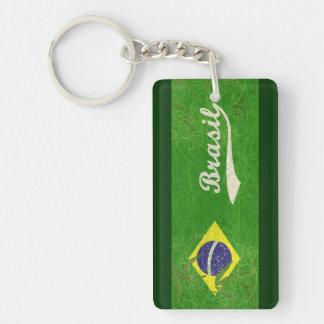 Bandera verde del Brasil Llavero Rectangular Acrílico A Una Cara