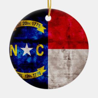 Bandera vieja de Carolina del Norte; Adorno Redondo De Cerámica