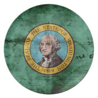 Bandera vieja del estado de Washington Plato De Cena