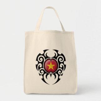 Bandera vietnamita agrietada tribal negra bolsa de mano
