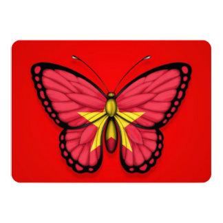 """Bandera vietnamita de la mariposa en rojo invitación 5"""" x 7"""""""