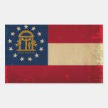 Bandera VINTAGE.png de Georgia Pegatina Rectangular