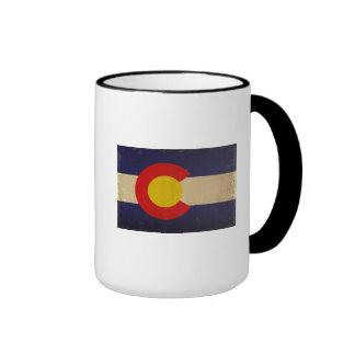 Bandera VINTAGE.png del estado de Colorado Taza De Dos Colores