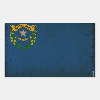 Bandera VINTAGE.png del estado de Nevada Pegatina Rectangular