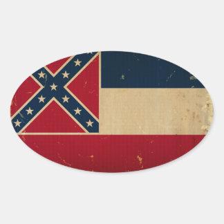Bandera VINTATE.png del estado de Mississippi Pegatina Ovalada