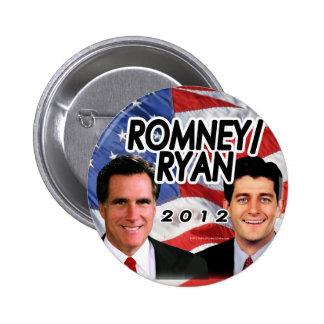 Bandera w/Photo Romney/Ryan 2012 Pin Redondo 5 Cm