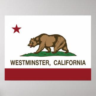 Bandera Westminster del estado de California Posters