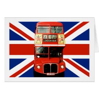 Bandera y autobús británicos de Londres Tarjeta De Felicitación