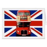 Bandera y autobús británicos de Londres Tarjeton