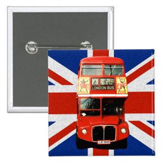 Bandera y botón británicos del autobús de Londres Pin Cuadrado