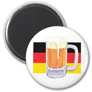 Bandera y cerveza alemanas imán redondo 5 cm