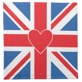 Bandera y corazón de Union Jack Servilleta