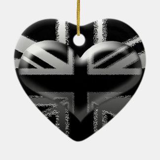Bandera y corazón modernos de Union Jack Adorno Navideño De Cerámica En Forma De Corazón