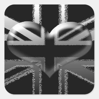 Bandera y corazón modernos de Union Jack Pegatina Cuadrada