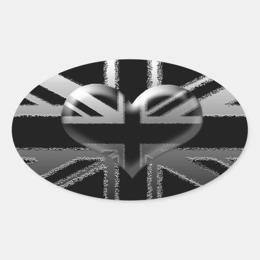 Bandera y corazón modernos de Union Jack Pegatina Ovalada