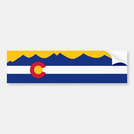 Bandera y cordillera de Colorado Etiqueta De Parachoque