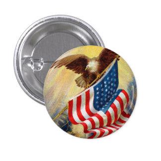 Bandera y Eagle de los E.E.U.U. del vintage Pin Redondo De 1 Pulgada