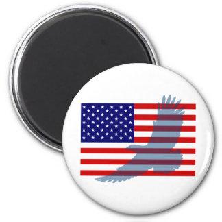 Bandera y Eagle patriótico Iman Para Frigorífico