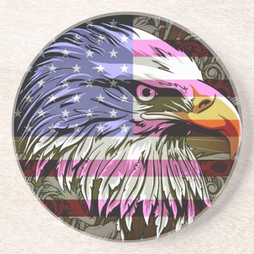 Bandera y Eagle Posavaso Para Bebida