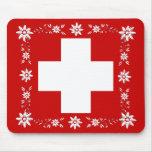 Bandera y edelweiss suizos 2 tapete de raton