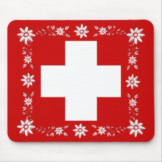 Bandera y edelweiss suizos 2 alfombrilla de raton