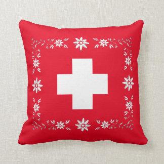 Bandera y edelweiss suizos cojín