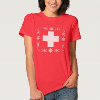 Bandera y edelweiss suizos remera