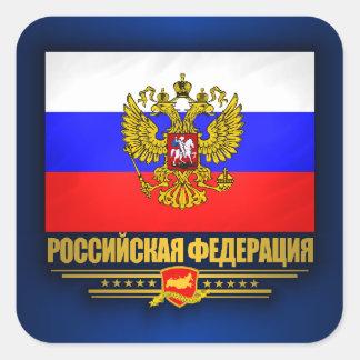 Bandera y emblema de la Federación Rusa Pegatina Cuadrada