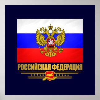Bandera y emblema de la Federación Rusa Póster