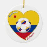 Bandera y equipo nacional de COLOMBIA FÚTBOL 2014 Adorno Navideño Redondo De Cerámica