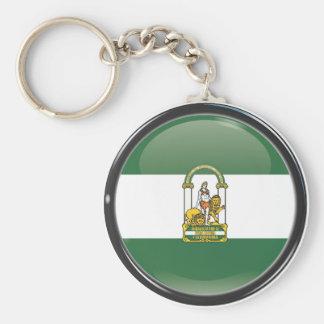 Bandera y escudo de Andalucía Llavero Redondo Tipo Pin