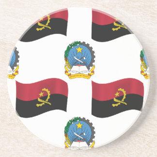 Bandera y escudo de Angola Posavasos Cerveza