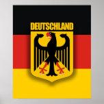 Bandera y escudo de armas alemanes póster