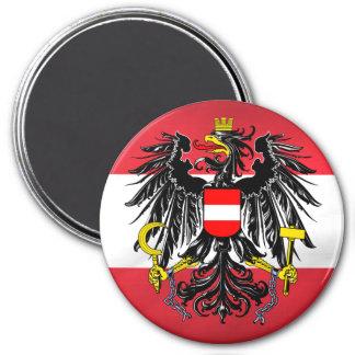 Bandera y escudo de armas austríacos imán redondo 7 cm
