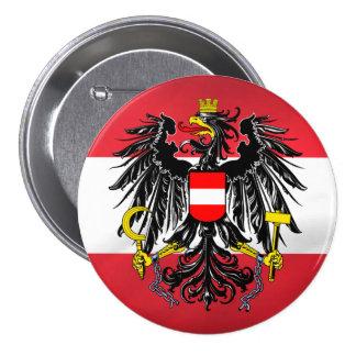 Bandera y escudo de armas austríacos pin redondo de 3 pulgadas