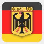 Bandera y escudo de armas de Deutschland Calcomania Cuadrada Personalizada