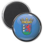 Bandera y escudo de Badajoz Imán Redondo 5 Cm