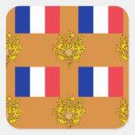 Bandera y escudo de Francia Calcomania Cuadradas Personalizada