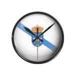 Bandera y escudo de Galicia Reloj Redondo Mediano