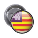 Bandera y escudo de Islas Baleares Pin Redondo 5 Cm