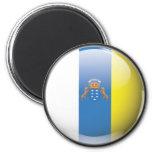 Bandera y escudo de Islas Canarias Imán Redondo 5 Cm