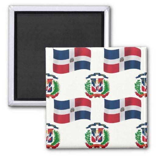 Bandera y escudo de la República Dominicana Imán De Frigorifico