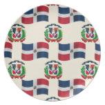 Bandera y escudo de la República Dominicana Plato Para Fiesta