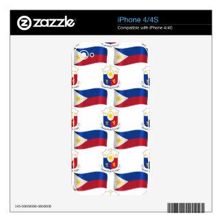 Bandera y escudo de las Filipinas Calcomanía Para El iPhone 4